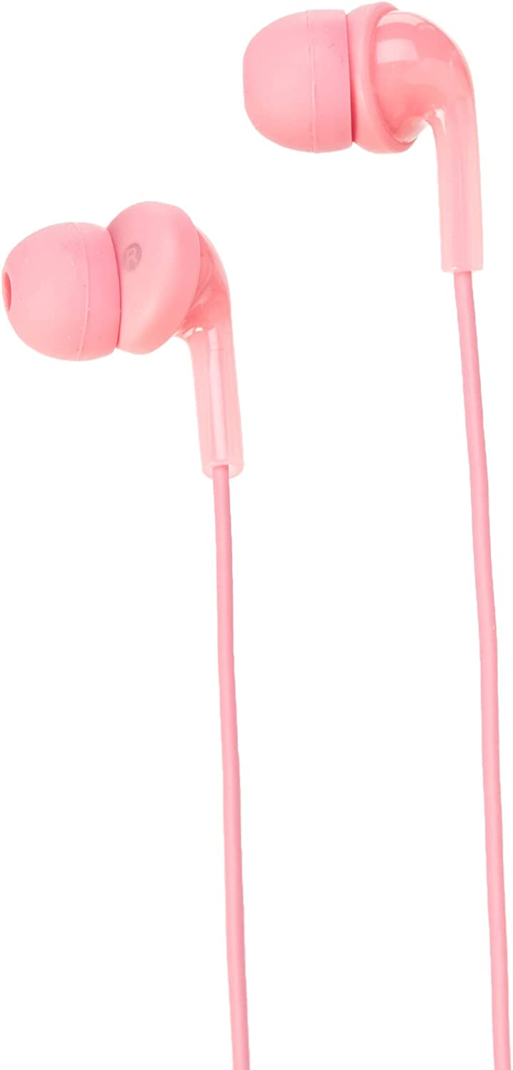 AmazonBasics In-Ear Wired Headphones Earbuds with Microphone, Pink
