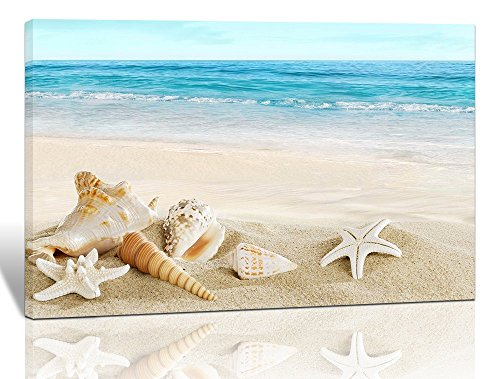 Purple Verbena Art Modern Seashell One Panel Seascape Giclee Pictures Photo Canvas Prints on Modern Stretched and Framed Canvas Wall Art Sea Beach Pictures Artwork for Home Decor, 10x14 Inch