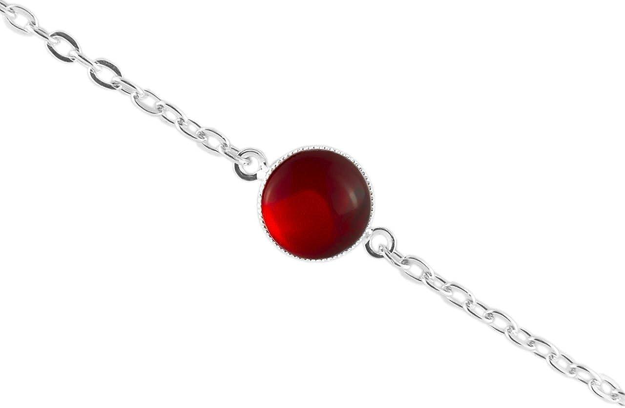 La Plata 925 Plateó la Pulsera de Cadena de 14cm Ronda Minimalista 10mm Cristal Rojo Cristal checo de Piedra hechos a Mano BohemStyle