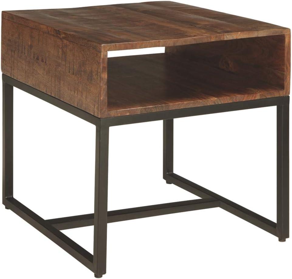 Signature Design by Ashley Hirvanton Rectangular End Table Warm Brown