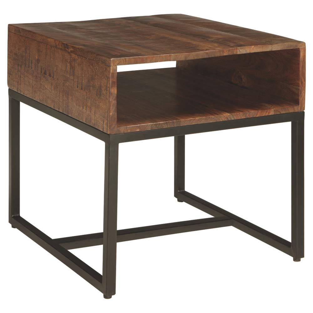 Ashley Furniture Signature Design - Hirvanton End Table Open Cubby - Warm Brown by Signature Design by Ashley