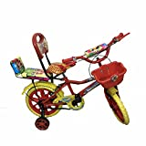 Rising India 14' Red Kids Bicycle For 3-5 Years Double Seated With Basket And Side Wheel. (Red)