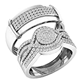 0.65 Carat (ctw) 10K Gold Round White Diamond Men & Women's Engagement Ring Trio Set