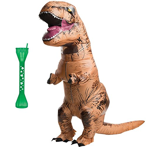 [Inflatable T-Rex Adult Costume - Drinking Glass Bundle] (Raptor Costume Jurassic Park)