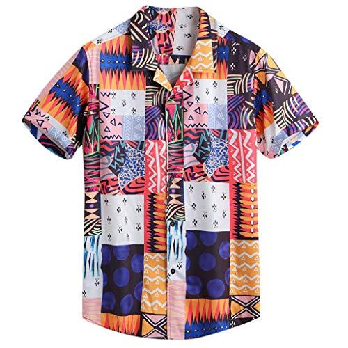 Londony ♪ Men's White T-Shirt Hippie Shirt V-Neck Beach Yoga Top Hawaiian Shirts Boho Printed Beach Party Holiday