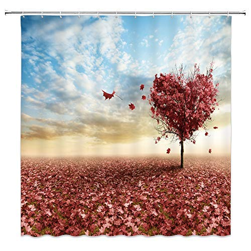(BCNEW Maple Tree Shower Curtain Decor Autumn Fall Red Fallen Leaves Heart Love Creative Plant Decorative Bathroom Curtain Polyester Fabric Machine Washable with Hooks 70x70 Inches )
