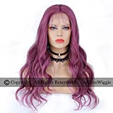 Purple Human Hair Body Weave Wigs Lace Front Purple Color Wig Glueless Remy Lace Wigs for Black Women (20inch 150density)