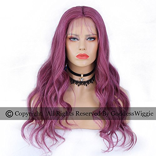 Purple Human Hair Body Weave Wigs Lace Front Purple Color Wig Glueless Remy Lace Wigs for Black Women (20inch 150density) by Goddess