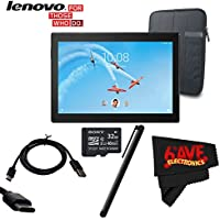 6Ave Lenovo 10.1 Tab 4 10 Plus 16GB Tablet (Wi-Fi/LTE, Slate Black) #ZA2T0000US + 10.1 Padded Case For Tablet + 32GB Sony Micro + Universal Stylus for Tablets Bundle