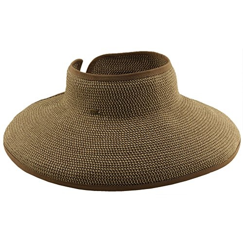 - SCALA Women's Packable Two-Tone Paper Braid Visor Brown/Natural Hat One Size