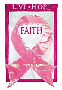 Red Carpet Studios Expressions Decorative Double Sided Applique Flag, 44-Inch by 28-Inch, Breast Cancer Pink Ribbon Live Hope Faith (Discontinued by Manufacturer)