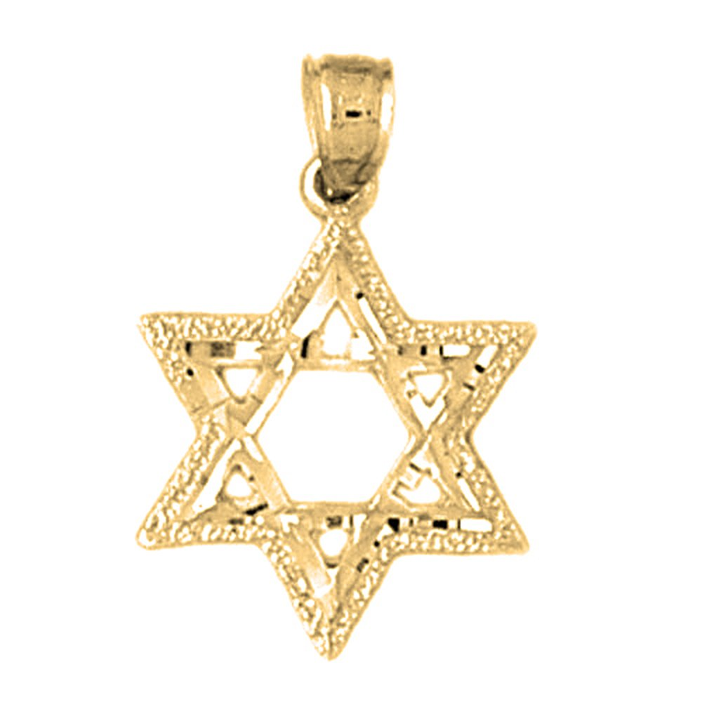 14K Yellow Gold-plated 925 Silver Star of David Pendant with 16 Necklace Jewels Obsession Star Of David Necklace