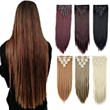 DODOING 8PCS 18Clips 23'' Long Straight Thick Full Head Clip in Hair Extensions Double Weft Women Lady Hairpiece - Ash Blonde