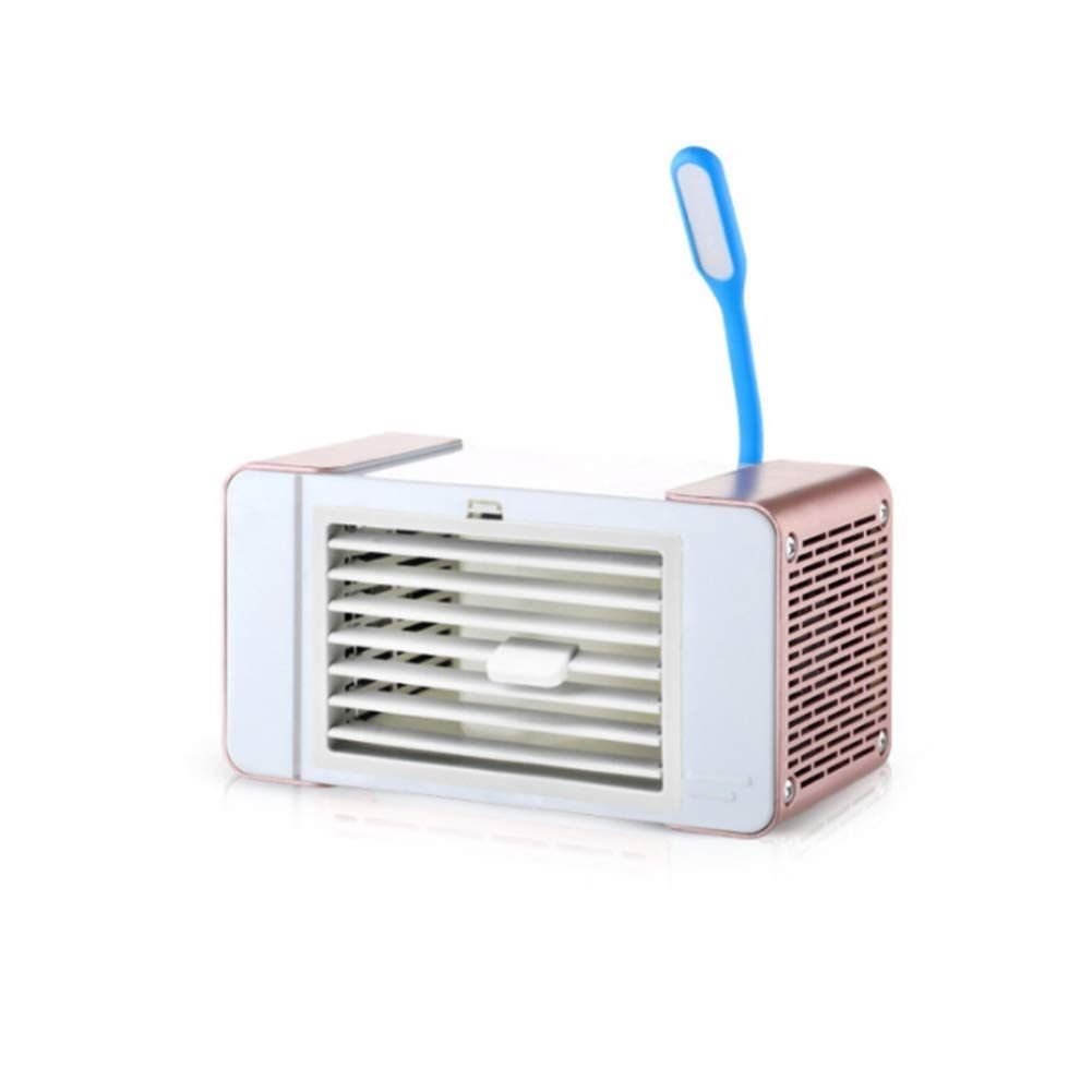 Xxyk Household air Cooler Small Air Conditioner Refrigeration Cooling Fan Student Dormitory Bed USB Charging Light Household Portable Small Fan Send a Lover Friend (Color : Gold)