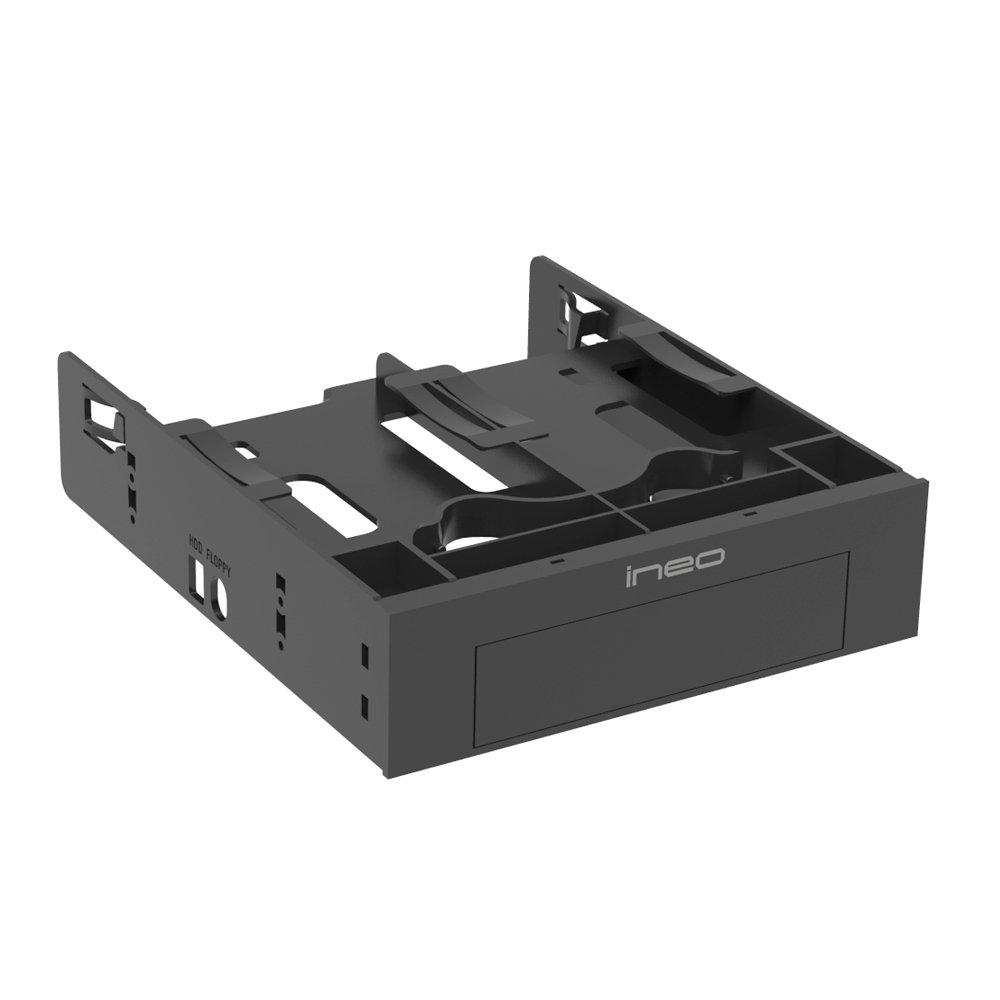 ineo 3544 - Soporte de Montaje sin Herramientas para Disco Duro SSD de 2 x 2, 5 Pulgadas y 1 x 3, 5 Pulgadas HDD a Adaptador de bahí a de 5, 25 Pulgadas 5 Pulgadas HDD a Adaptador de bahía de 5