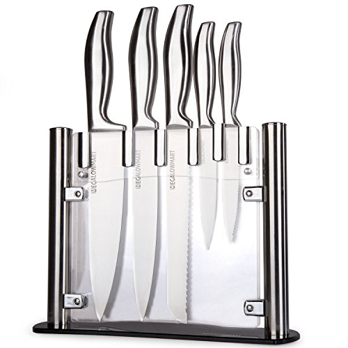 MEGALOWMART Professional 6 Piece Stainless Steel Kitchen Knife Set with Acrylic (Stainless Traditional Kitchen Knife Set)