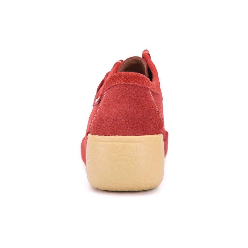 Fuxitoggo Woherren Casual Casual Casual schnüren Sich Dicke Sole Loafer Wohnungen (Farbe   Orange Rot Größe   6 UK) 7aa666