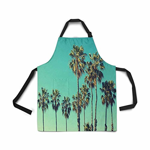 InterestPrint Adjustable Bib Apron for Women Men Girls Chef with Pockets, Palm Tree Beach Summer Travel Vacation Novelty Kitchen Apron for Cooking Baking Gardening Pet Grooming Cleaning by InterestPrint (Image #2)