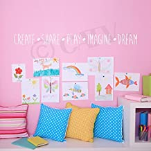 "Create Share Play Imagine Dream Vinyl Lettering Wall Decal Sticker (4""H x 47""L, White)"