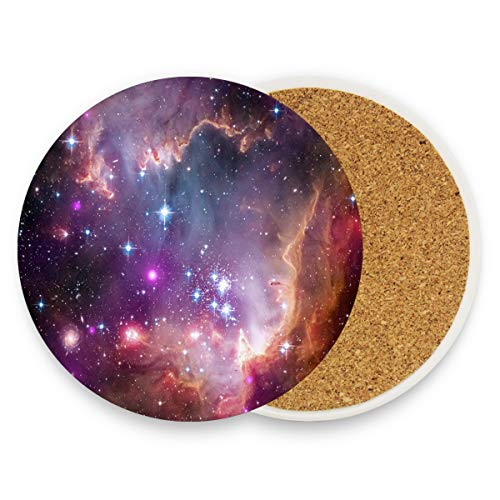 Nebula Galaxy Star Space Coasters, Protection for Granite, Glass, Soapstone, Sandstone, Marble, Stone Table - Perfect Wood Coasters,Round Cup Mat Pad for Home, Kitchen or Bar Set of 4 ()