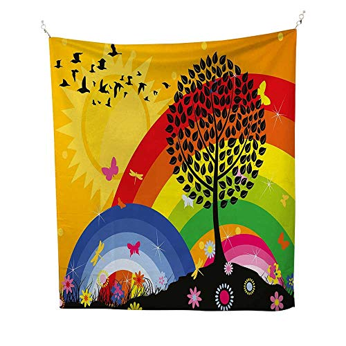 Rainbowcool tapestrySilhouette of a Tree on Hill with Sun and Two Rainbows Spring Time Flowers 57W x 74L inch Tapestry for wallMarigold Multicolor (Hills Tapestry Grey Two)