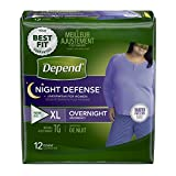 Depend Night Defense Incontinence Overnight Underwear for Women, XL, 12 Count