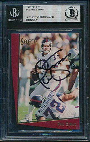 - Phil Simms NY Giants SB XXI MVP Signed 1993 Select Card #19 Beckett 143419 - Beckett Authentication - NFL Autographed Football Cards