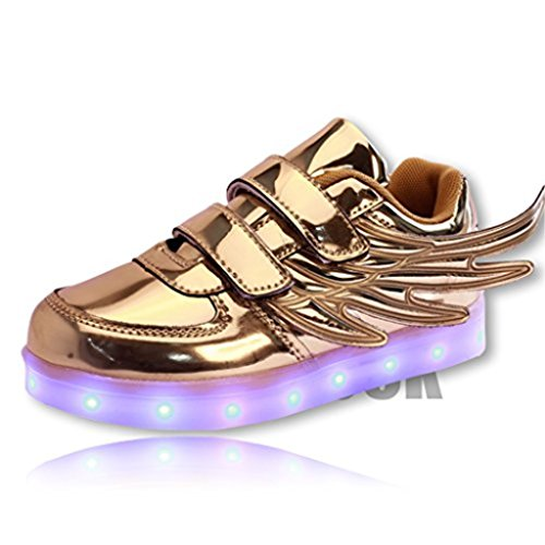 [DoGeek Girl Boy LED Toddler Light up Shoes Unisex Big Children Angel Wings Sneakers 7 Colors Best Gift (Choose Half Size] (Light Up Angel Wings)