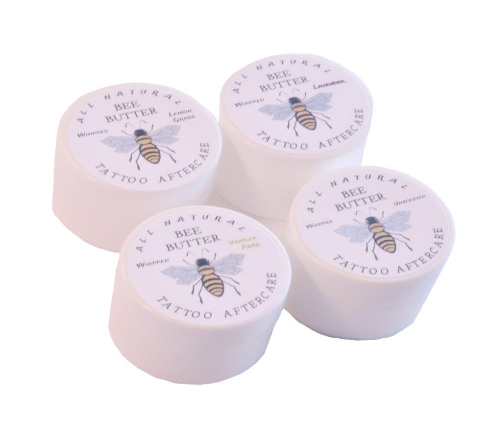 All Natural Bee Butter Tattoo Aftercare. 4 pack of .25 oz sample jars to carry with you everywhere. Get 1 of each scent.