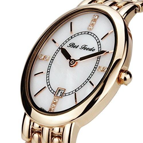 BETFEEDO Women's Watch Rose Gold Bracelet Watch for Women, Analog Quartz Watch, Fashion Dress Wrist Watch (Goldrose) Gold Oval Wrist Watch