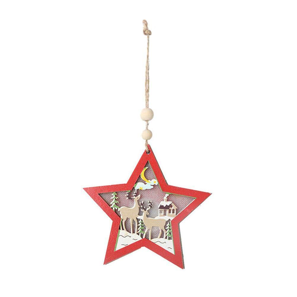 Gorgeousy Petit LED Light Up Pendentif en Bois, Arbre de Noël Suspendu Pendentif Ornement décoration fête de Noël Suspendu décor Cadeau