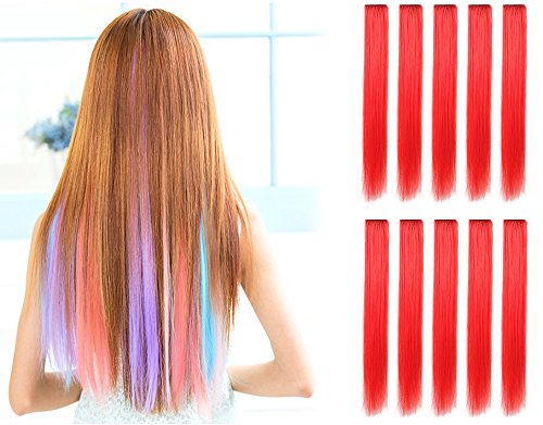 OneDor 23 Inch Colored Party Highlights Straight Hair Clip Extensions. Heat-Resistant Synthetic Hair Extensions in Multiple Colors (10 Pcs Red) -