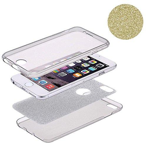 König-Shop Full TPU Case für Apple iPhone 8 Schutz Hülle Handy Glitzer Cover Gold
