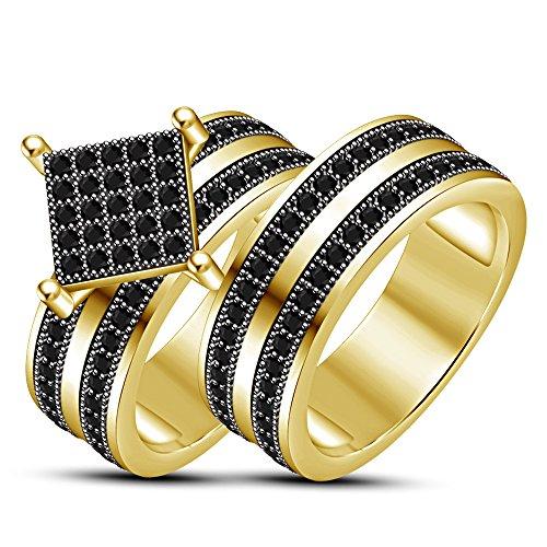 587ef76a2637 60% de descuento Lilu Jewels - Juego de anillos de compromiso para novia  con circonita