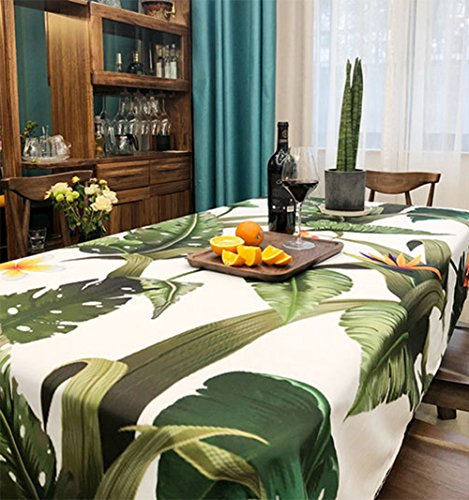 Table Cloth Flowers Banana Tropical Green Leaves Pattern Printed Chic Soft Polyester Cotton Rectangular Round Square Table Cover Dinner Kitchen (5578in/140200cm) ()