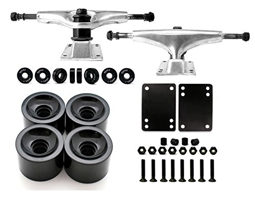 VJ Skateboard Truck and Wheel, 5.0 Skateboard Trucks (Silver) w/Skateboard Crusier Wheel 60mm, Skateboard Bearings, Skateboard Screws, Skateboard Riser Pads (Black)