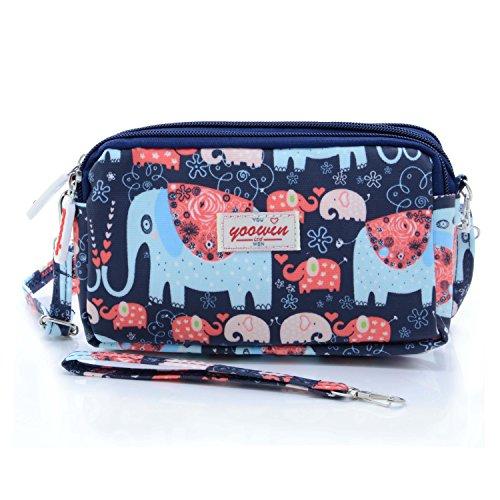 Quilt Handbag Purse (liangdongshop Women's 3 Layers Zipped Cell Phone Wrist Handbags Clutch Crossbody Purse Colorful (model 8))