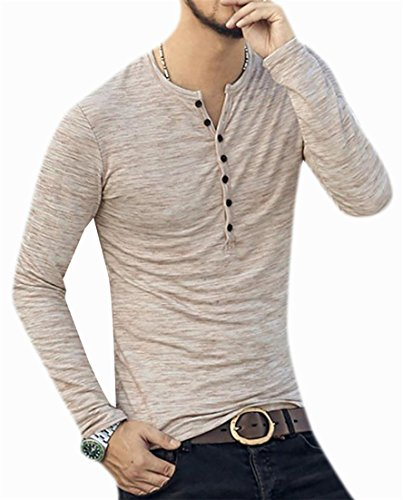 (Fulok Mens Casual Button Up Long Sleeve Henley Shirt Top T-Shirts Khaki S)