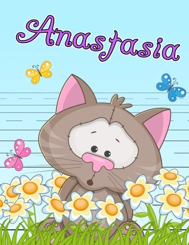 "Anastasia: Personalized Book with Child's Name, Primary Writing Tablet for Kids, 65 Sheets of Practice Paper, 1"" Ruling, Preschool, Kindergarten, 1st Grade, 8 1/2"" x 11"" PDF"