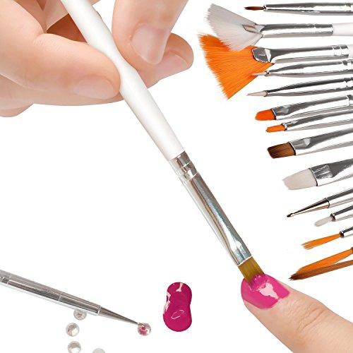 20pc Nail Art Design Painting Dotting Pen Brushes Tool Kit Set: GREEN FABWOOD 15pcs Nail Art Painting Pen Brush
