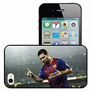 Personalized iPhone 4 4S Cell phone Case/Cover Skin Lionel Messi Leo FC Barcelona Player Footballer Argentinian Black