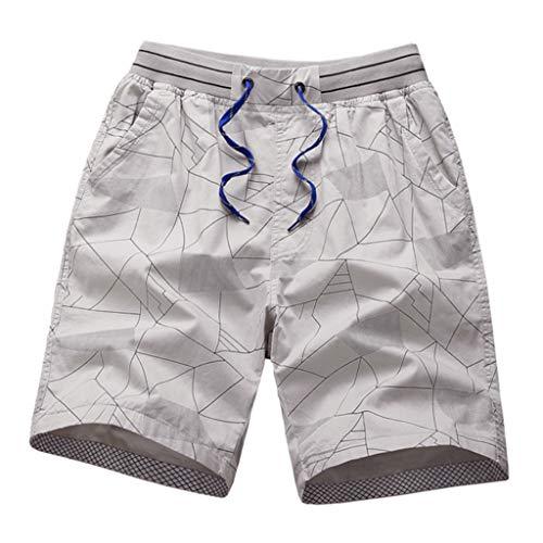 (YAYUMI 2019 Fashion Men's Stripe Zip Pocket Elastic Cord Casual Cotton Sports Shorts Beach Pants Khaki)