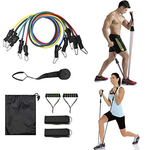 SR SUREADY [Newest] Set 11 Pack, Men Women Fitness Stretch Workout Bands with Fitness Tubes, Foam Handles, Ankle Straps, Door Anchor for Home Gym Fitness TPE Elastic Pull Strap