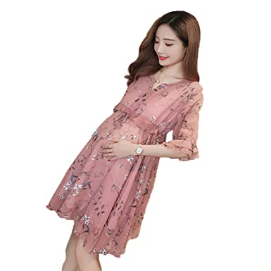 e654396305c NT Printed Chiffon Maternity Dress 2018 Summer v-Neck Maternity Clothes for Pregnant  Women Pregnancy Clothing at Amazon Women s Clothing store