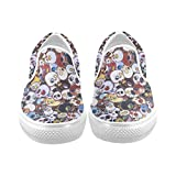 Cheap D-Story Custom Colorful Skull Print Women's Canvas Shoes Fashion Shoes Sneaker