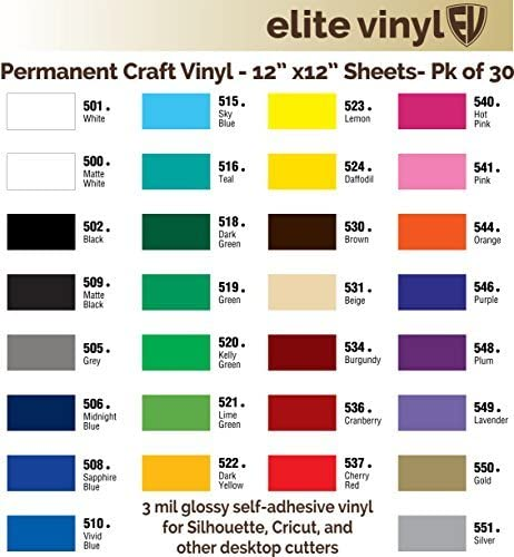 Amazon Com 30 Sheet Pack 12 X 12 Glossy Outdoor Vinyl For Silhouette Cricut And Similar Cutters Ev121s Kitchen Dining