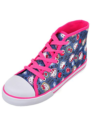 Hello Kitty Lil Katherine Fashion Sneaker High Top Lace Up Blue Denim 13 Little Kid