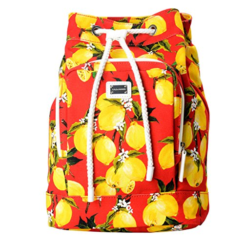 Dolce & Gabbana Multi-Color Lemon Print Women's Drawstring Backpack Bag by Dolce & Gabbana