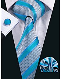 Hi-Tie New Style Striped Men's Necktie Set Woven Silk Ties