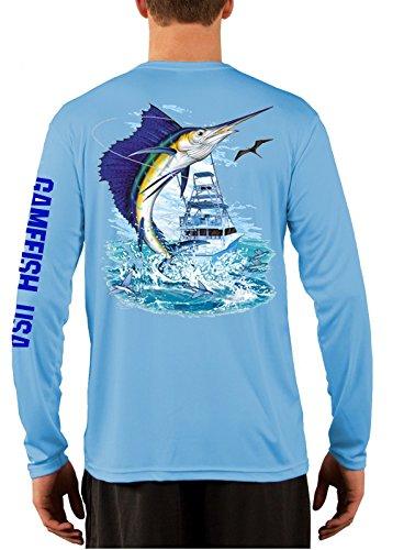 Men's UPF 50 Long Sleeve Microfiber Moisture Wicking Performance Fishing Shirt X-Large Sailfish Baby Blue ()
